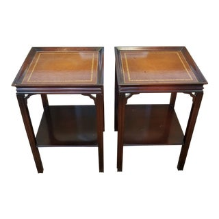 Pair Mahogany Leather Top 1950s Gordon's Fine Furniture Square Side Lamp Tables