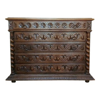 Dark English Oak Chest of Drawers