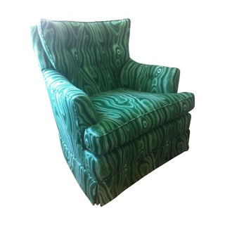 Custom Swivel Chair in Designer Malachite Fabric