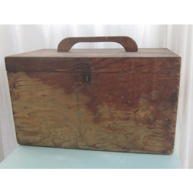 Primitive Rustic Wood Trunk Chest Crate Tool Chest - Image 3 of 11