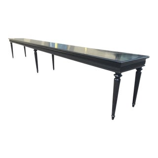Extra Long Black Lacquered Directoire Gallery Bench