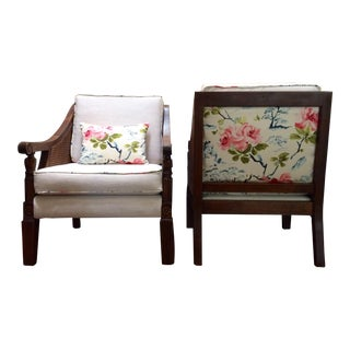 Wood & Cane Floral Club Chairs - A Pair