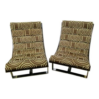 Mid-Century Patterned Lounge Chairs - A Pair