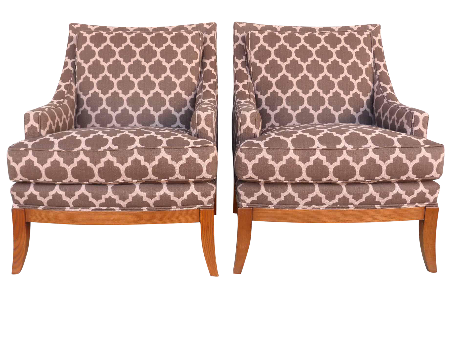 Kravet Furniture Upholstered Lounge Chairs With Wood Frame   A Pair