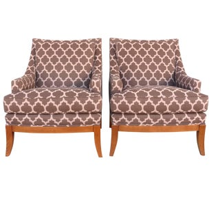 Kravet Furniture Upholstered Lounge Chairs With Wood Frame - A Pair