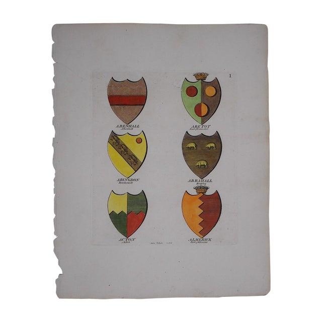 Image of Antique 1790 English Heraldry Crests Print