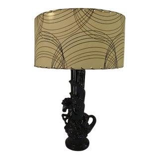 1950s Black Ceramic Horse Lamp with Original Shade