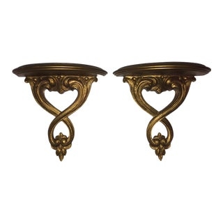 Italian Syroco Wood Gold Shelves - A Pair