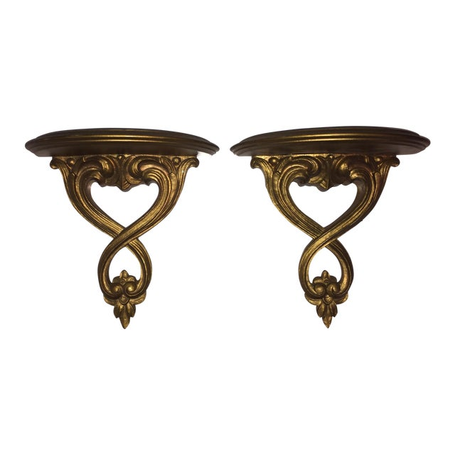 Image of Italian Syroco Wood Gold Shelves - A Pair