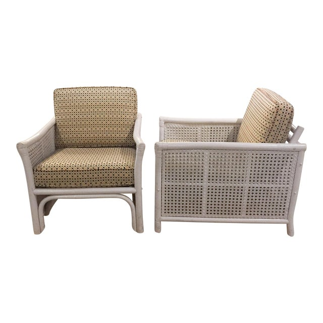 Image of Ficks Reed Mid Century Bamboo & Caned Lounge Chairs - a Pair