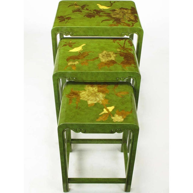 Three Embossed & Parcel Gilt Rich Jade Green Nesting Tables - Image 4 of 10