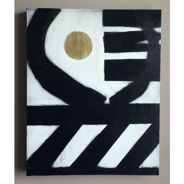 Black & White Geometric Acrylic Paintings - A Pair - Image 4 of 4