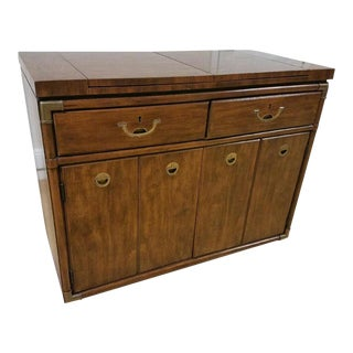 Drexel Heritage Campaign Style Bar / Buffet Server on Rollers