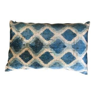 Blue Velvet Ikat Pillow