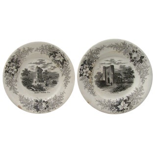 Antique French Black & White Transferware Plates, Pair