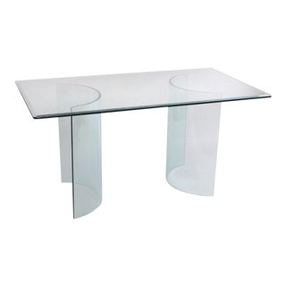 Contemporary Glass Curved C Shape Arch Bases Dining Table Console