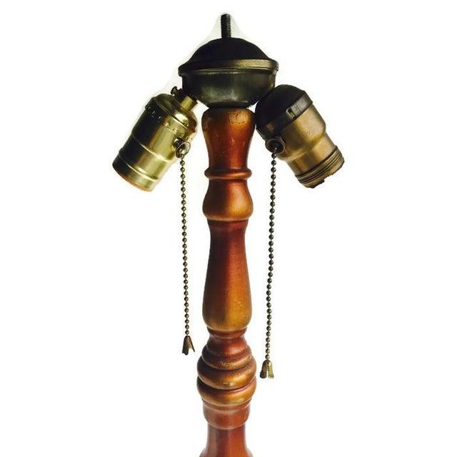 Vintage 1920s Ornate Floor Lamp Wood & Metal - Image 9 of 10