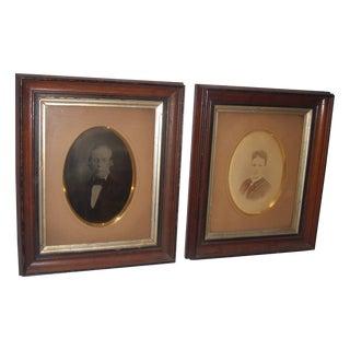 Victorian Portraits in Walnut Frames - A Pair