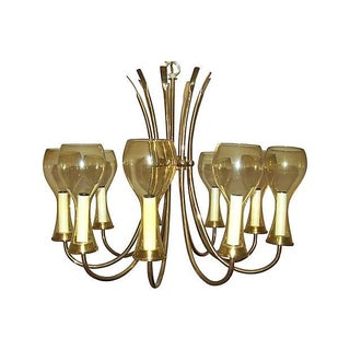 Scandinavian Style Brass & Amber Glass Chandelier