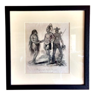 "Antique 1797 J. Wilkes Engraving ""Aboriginals of North America"" Print"