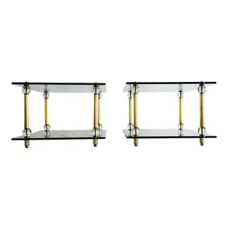 Vintage Brass, Lucite, & Glass Side Tables