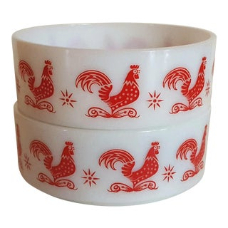 Hazel Atlas Red Rooster Bowls - A Pair