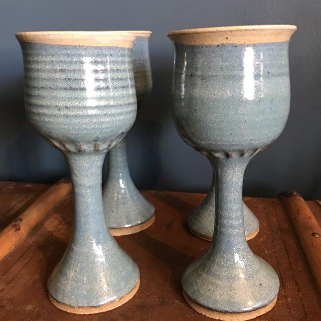 Art Pottery Turquoise Stoneware Goblets- Set of 4 - Image 3 of 7