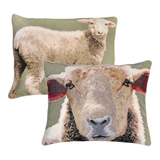 Baby Sheeps Wool Needlepoint Pillows - A Pair