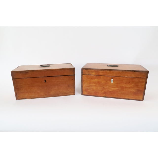Antique Wood Tea Caddies- a Pair - Image 2 of 7