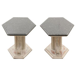 French Empire-Style Marble Side Tables - Pair