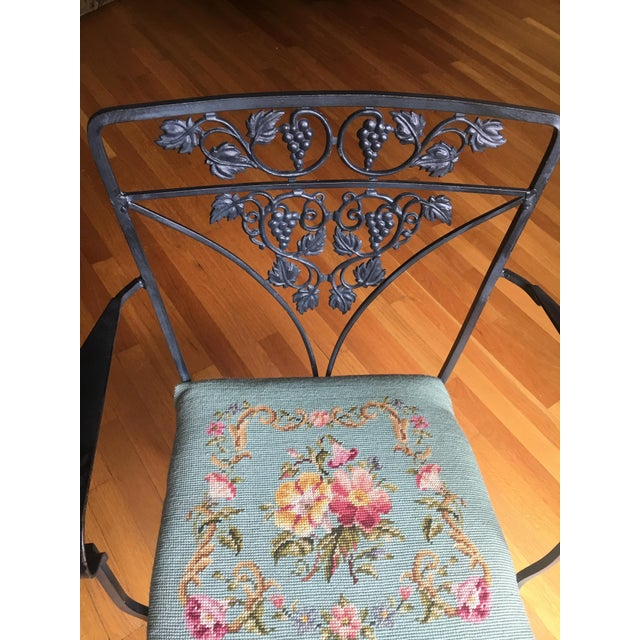 Needlepoint Cushion Wrought Iron Chair - Image 3 of 10