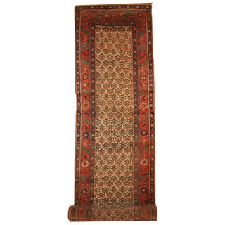 Antique Handmade Persian Kurd-Bidjar Runner - 3.5' X 17.7