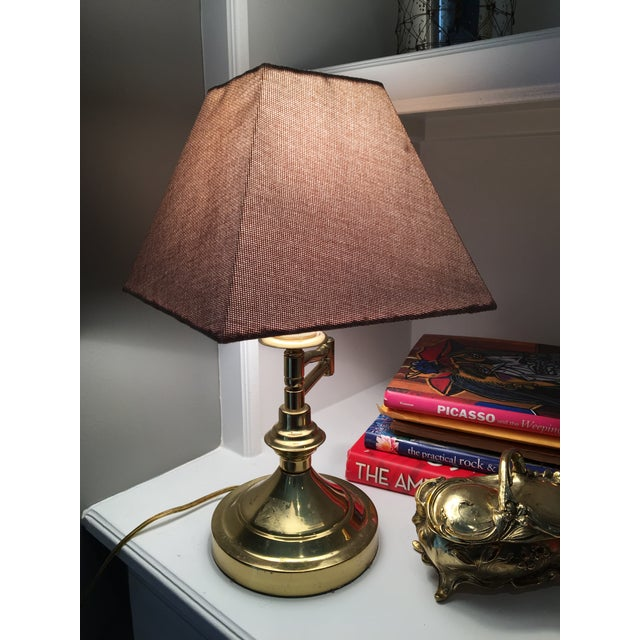 Vintage Mid-Century Swing Arm Brass Accent Lamp - Image 3 of 7