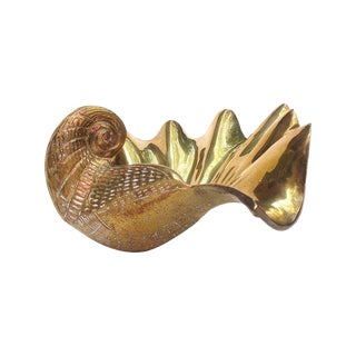Vintage Brass Clam Shell Dish