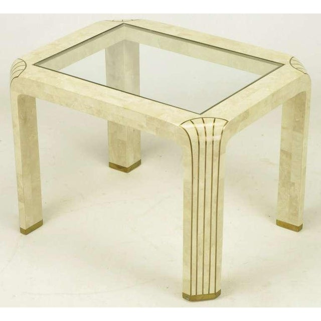Pair Tessellated Fossil Stone & Inlaid Brass Side Tables - Image 4 of 8