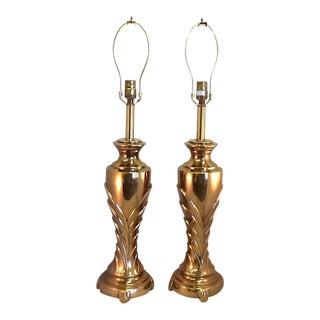 Vintage Rembrandt Art Deco Style Brass Lamps - Pair