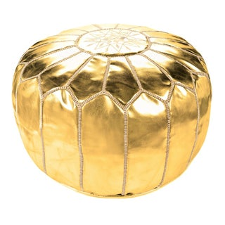 "Moroccan Gold Leather Pouf - 19"" x 14"""