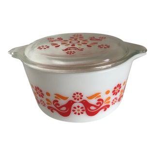 Mid-Century Lidded Lovebird Corningware Container