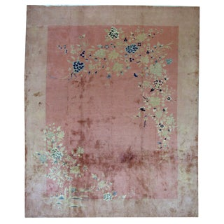 1920s Antique Chinese Art Deco Hand Made Rug- 8′10″ × 11′7″