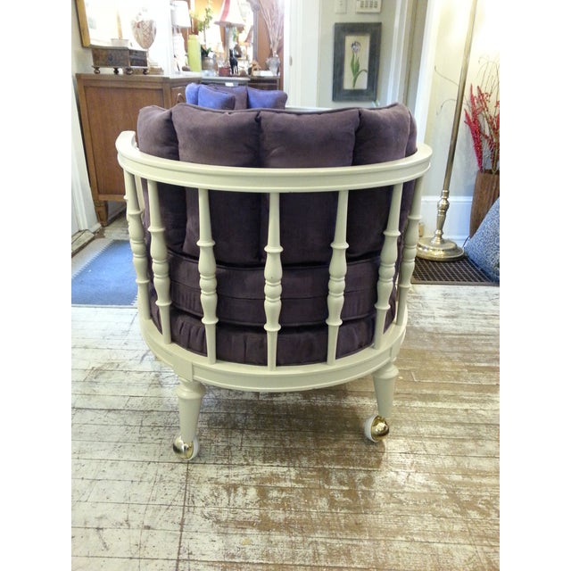 Vintage Purple Club Chairs - A Pair - Image 4 of 5