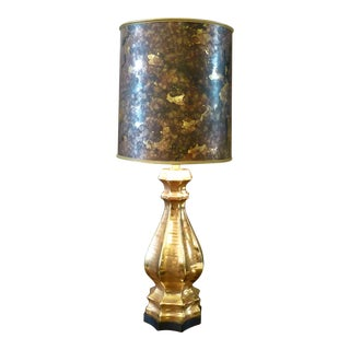 Mid Century Regency Gold Glazed Table Lamp with Shade