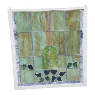 American Art Nouveau Leaded Stained Glass Window