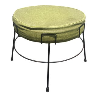 Mid-Century Modern Green Circular Footstool
