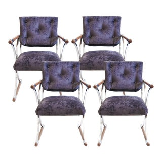 Cleo Baldon Purple Iron and Oak Campaign Dining Chairs - Set of 4