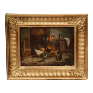 19th Century French Oil on Panel Chicken Paintings in Gilt Frame - a Pair