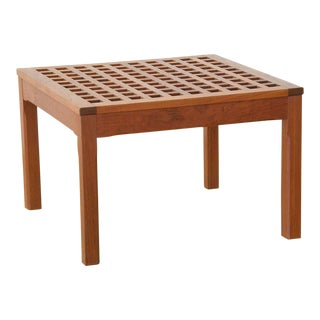 Square Teak, Grid-Top Table