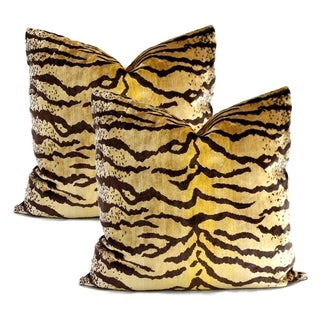 Lee Jofa Velvet Tiger Pillows - A Pair