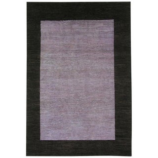 Modern Contemporary Purple and Brown Area Rug - 6' X 9'
