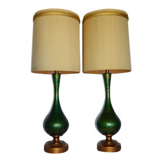 Italian Mid-Century Green Metal Lamps - A Pair