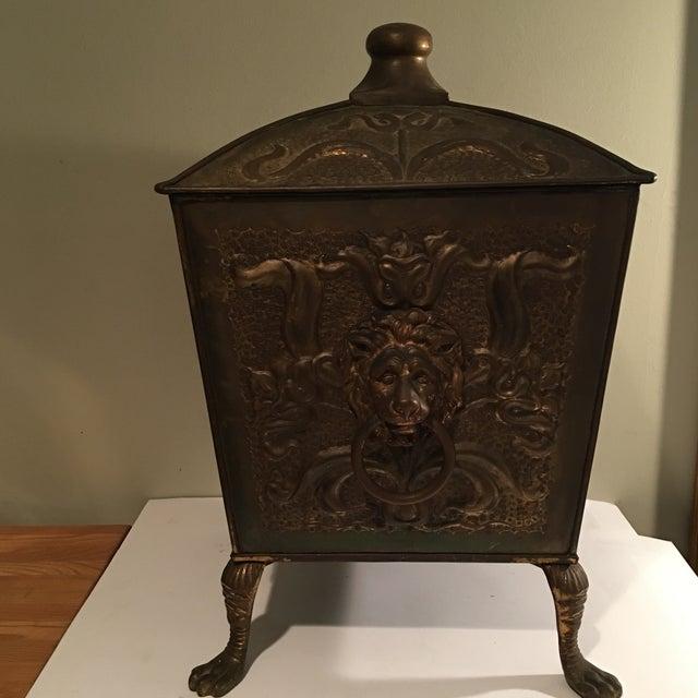 Antique Bronze Coal Bucket Fireplace Scuttle Lions Head Design - Image 2 of 4